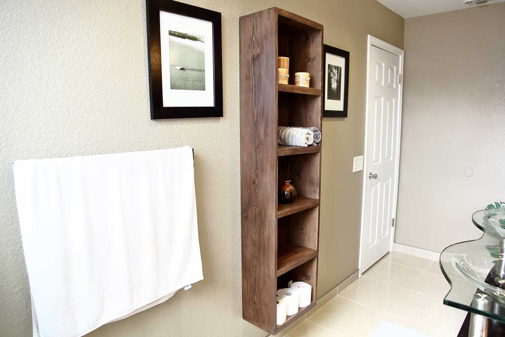 DIY Bathroom Floating Shelf