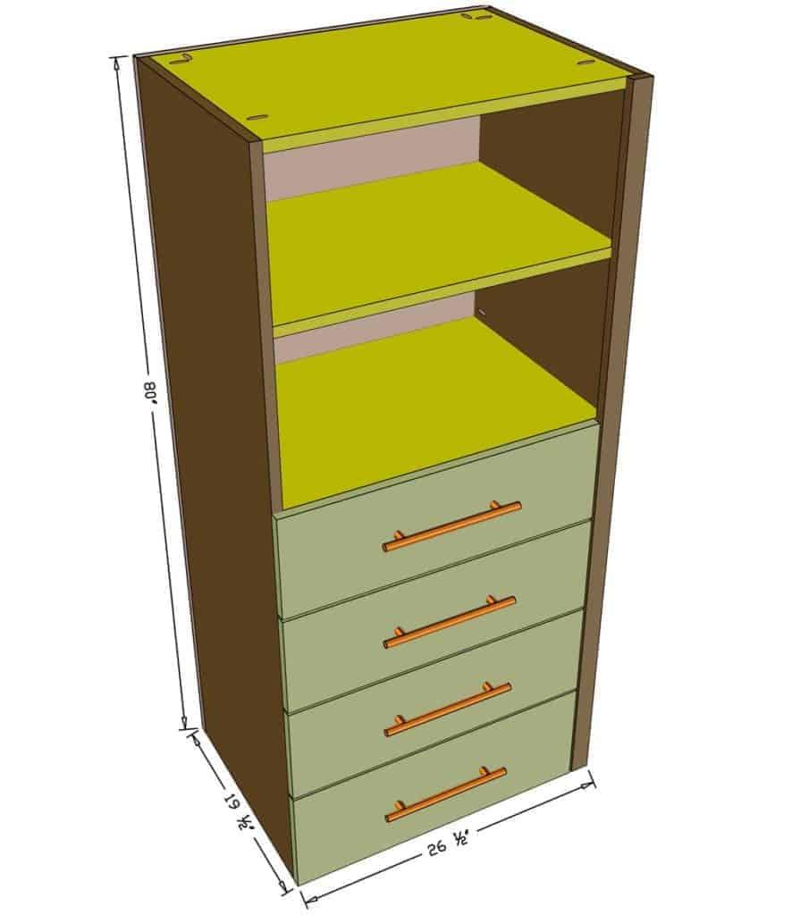 DIY Closet Organizer dimensions