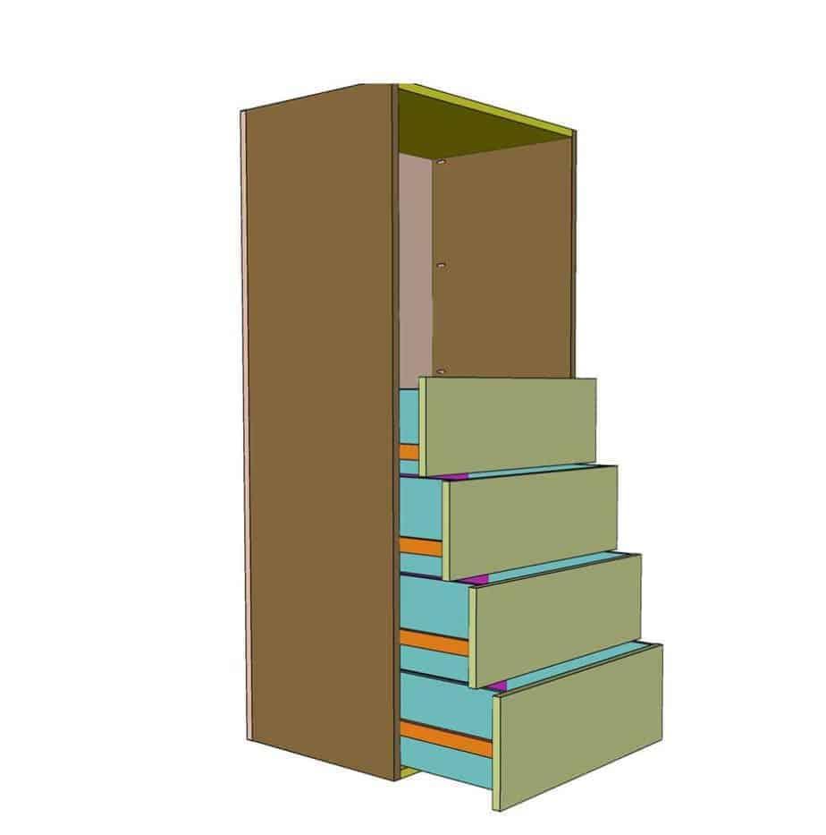 installing drawers in DIY Closet Organizer