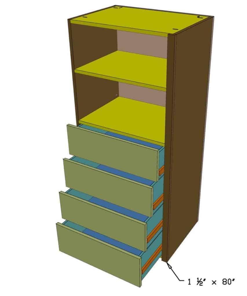 installing shelves in the closet organizer