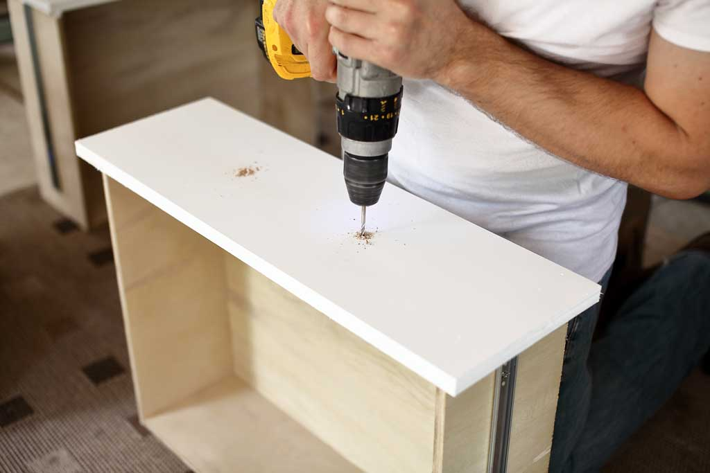 drilling hole for the drawer handles