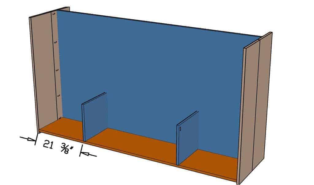 attach bottom shelf and divider for DIY Media Console