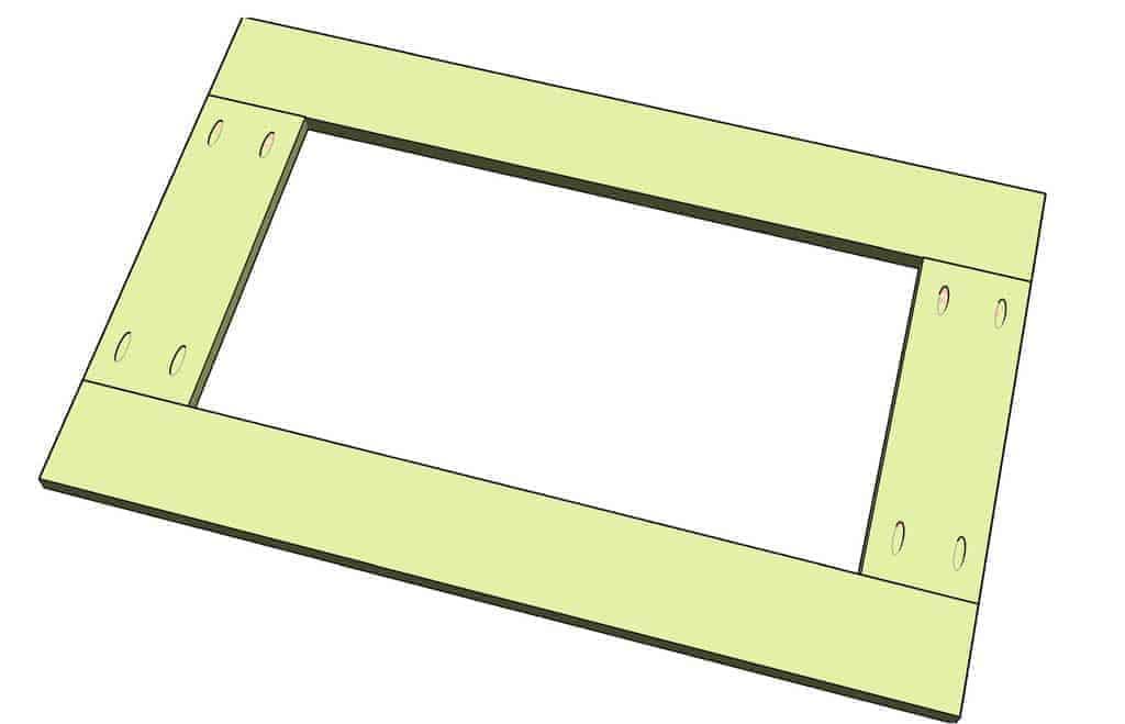 attach barn door frame together for media center