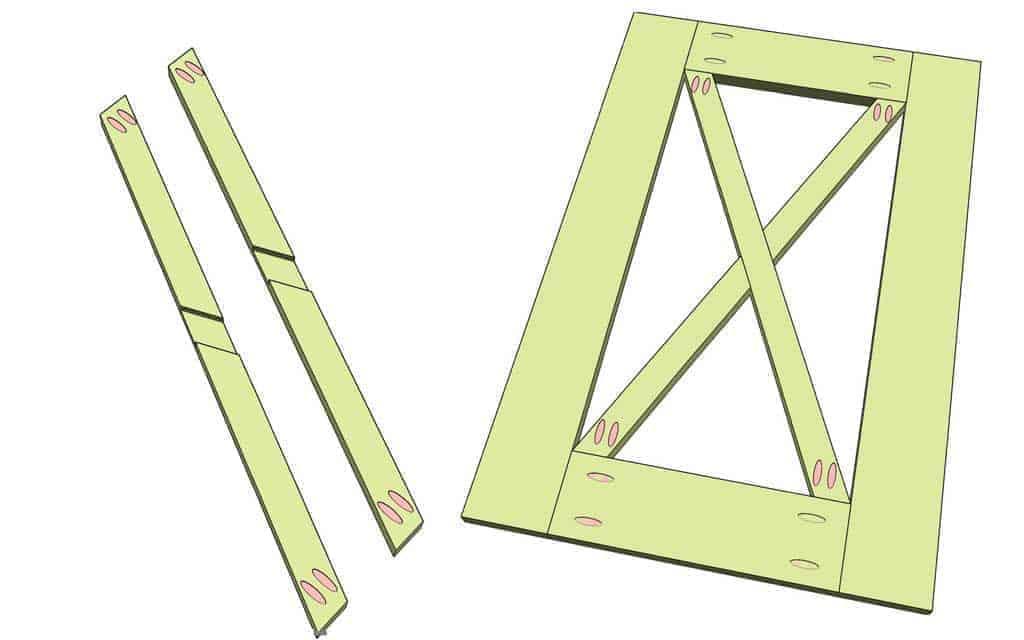 cut cross boards for the barn doords