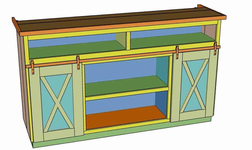 install barn door kit on media center