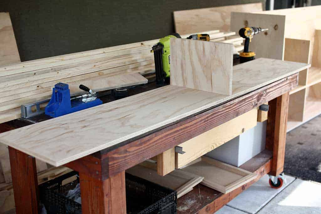 building a shelf for DIY Farmhouse Media Console with TV Lift