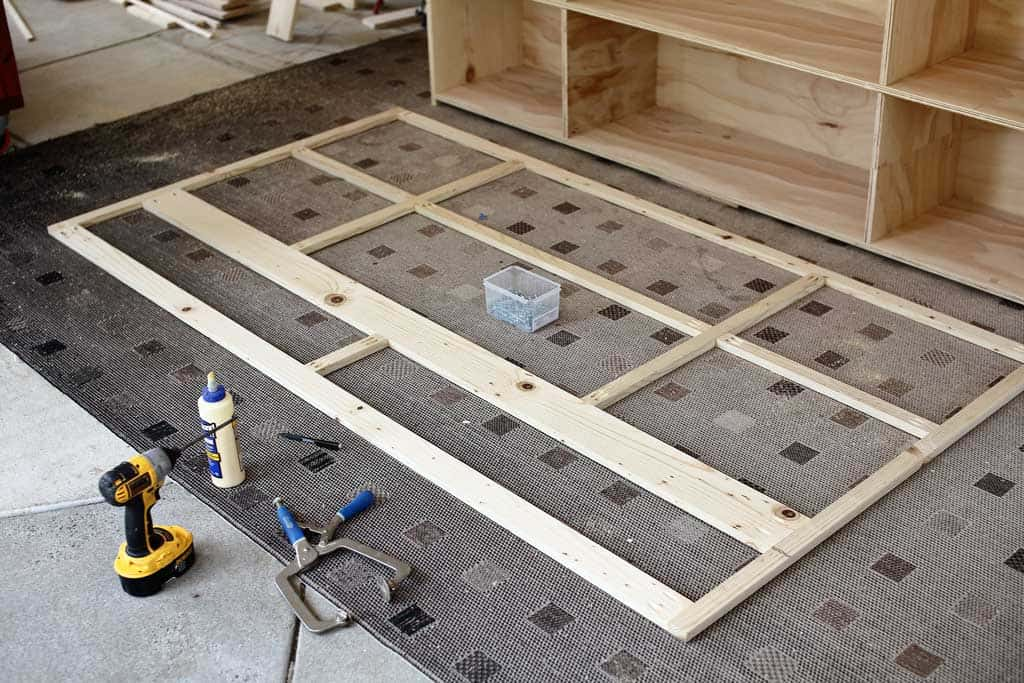 building a face frame for DIY Farmhouse Media Console with TV Lift