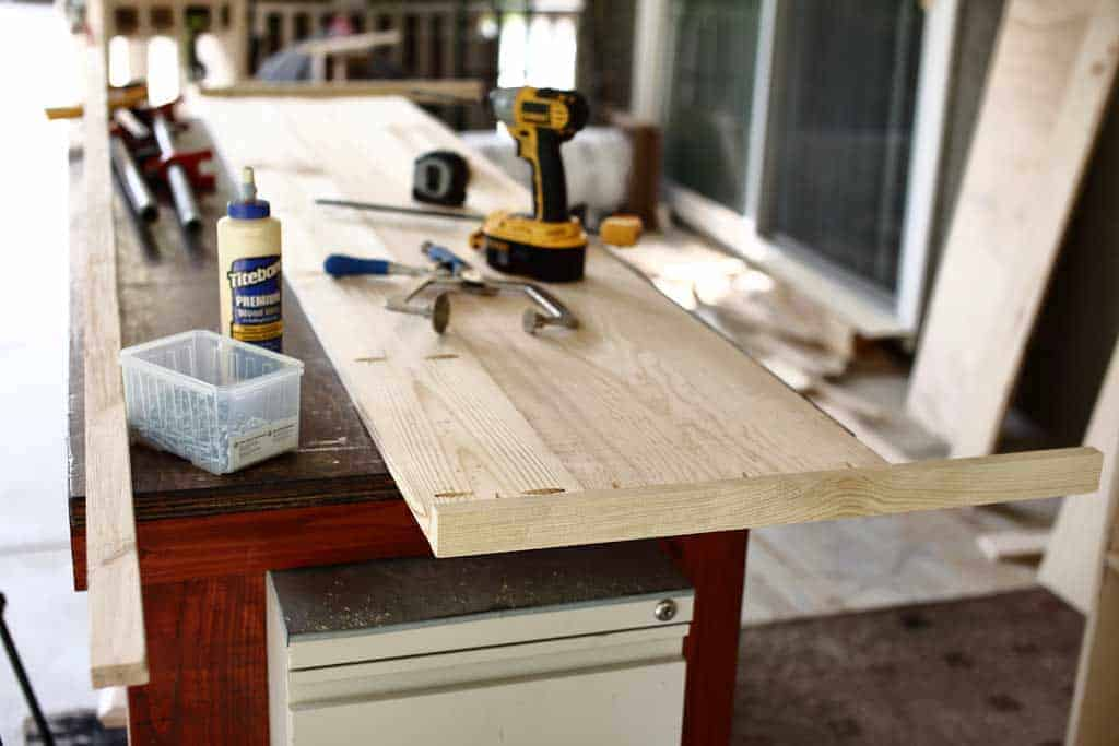 building a top lid for DIY Farmhouse Media Console with TV Lift