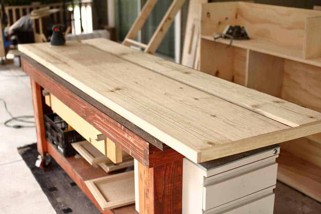 building top for the DIY Farmhouse Media Console with TV Lift