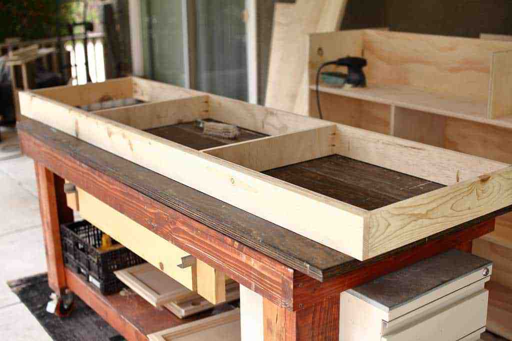 building base for the DIY Farmhouse Media Console with TV Lift
