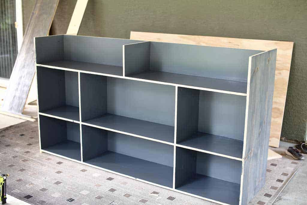 painting the DIY Farmhouse Media Console with TV Lift