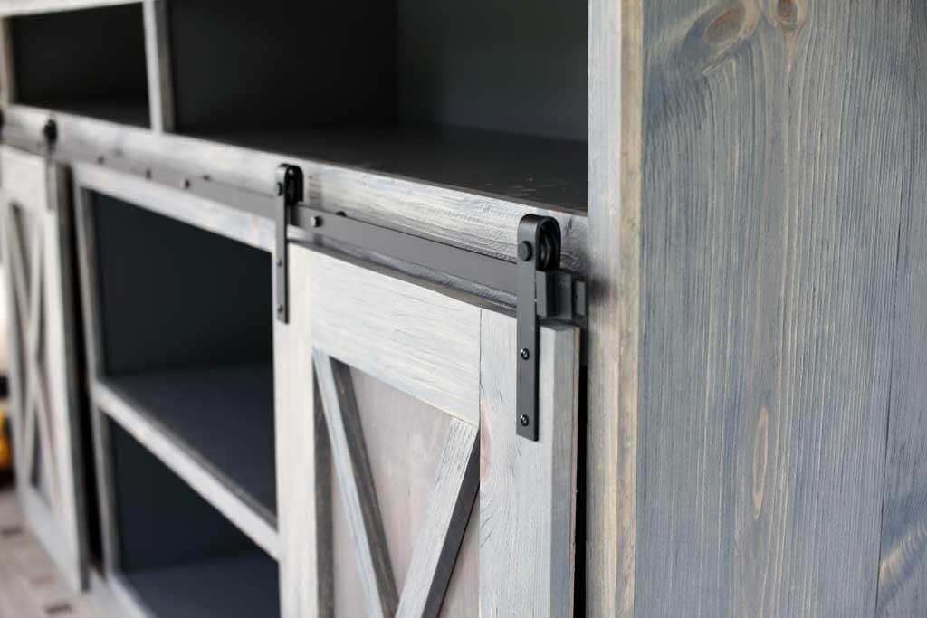 attaching barn door rails to media center