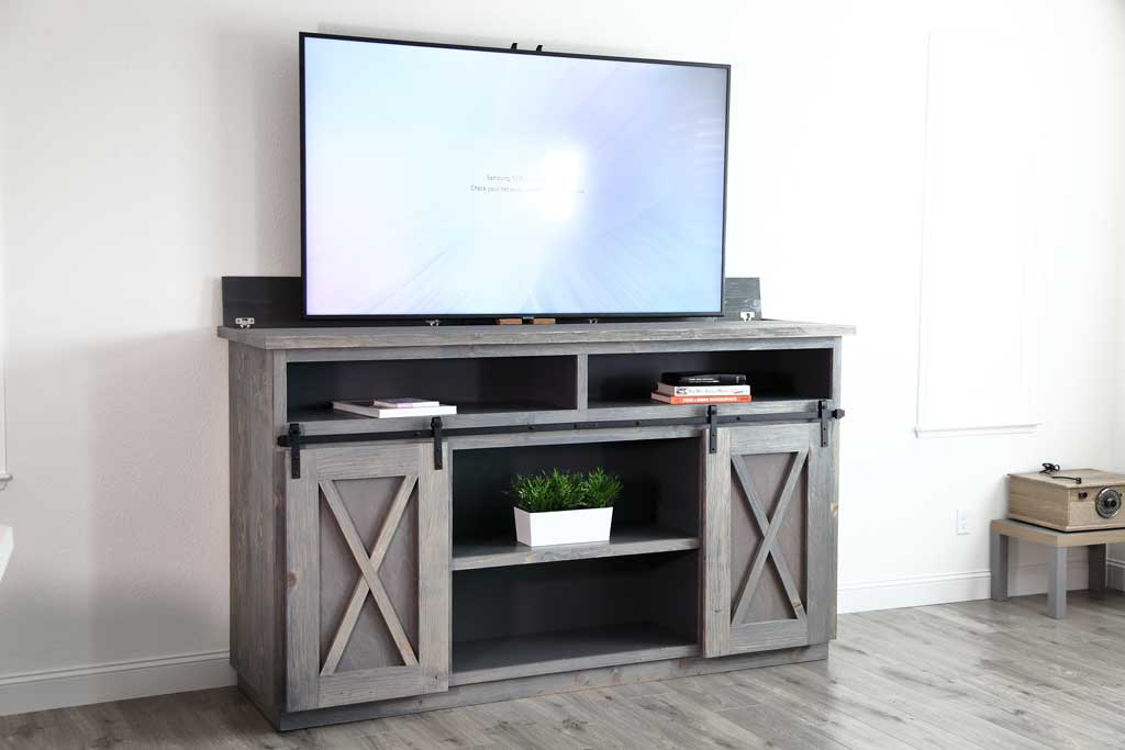 DIY Farmhouse Media Console with TV Lift
