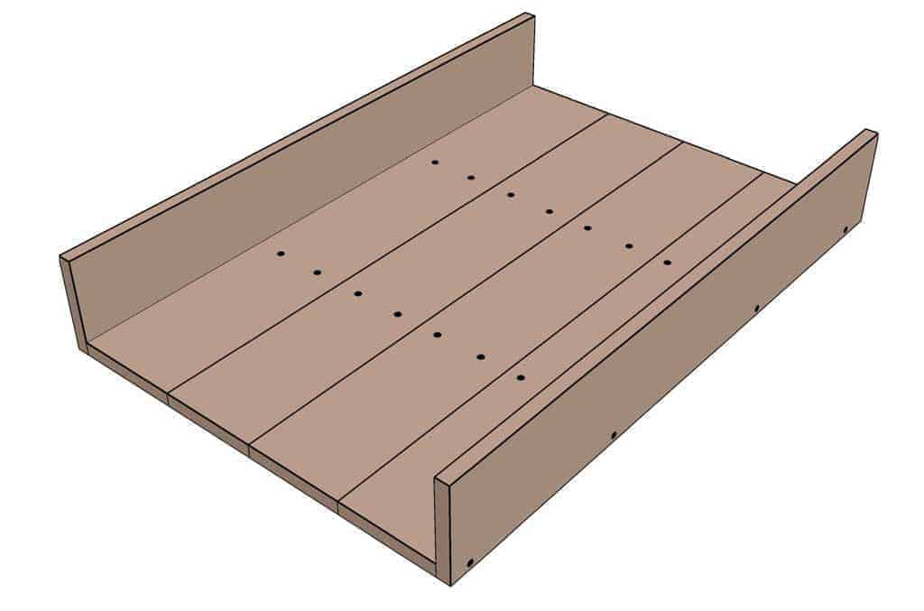 attaching side boards for the DIY Sandbox table