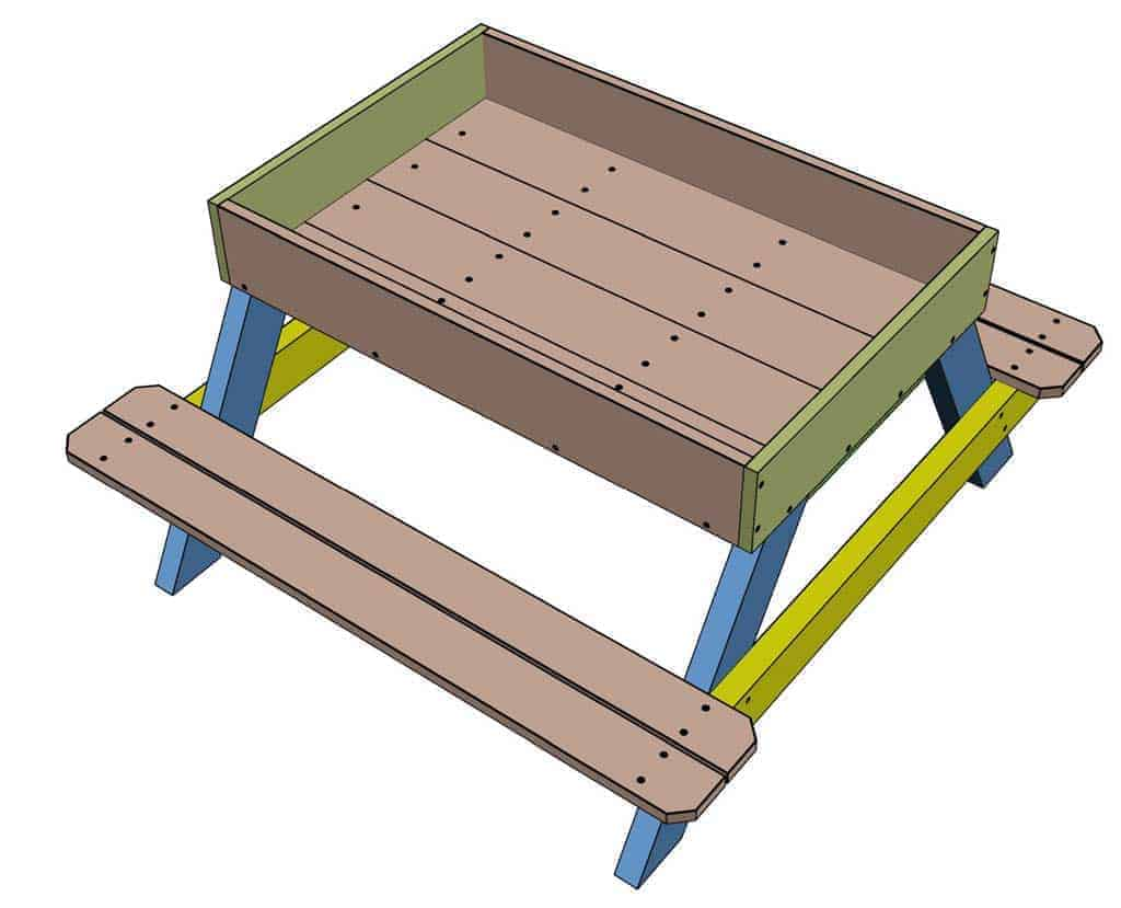 attaching seat boards for the DIY Sandbox table