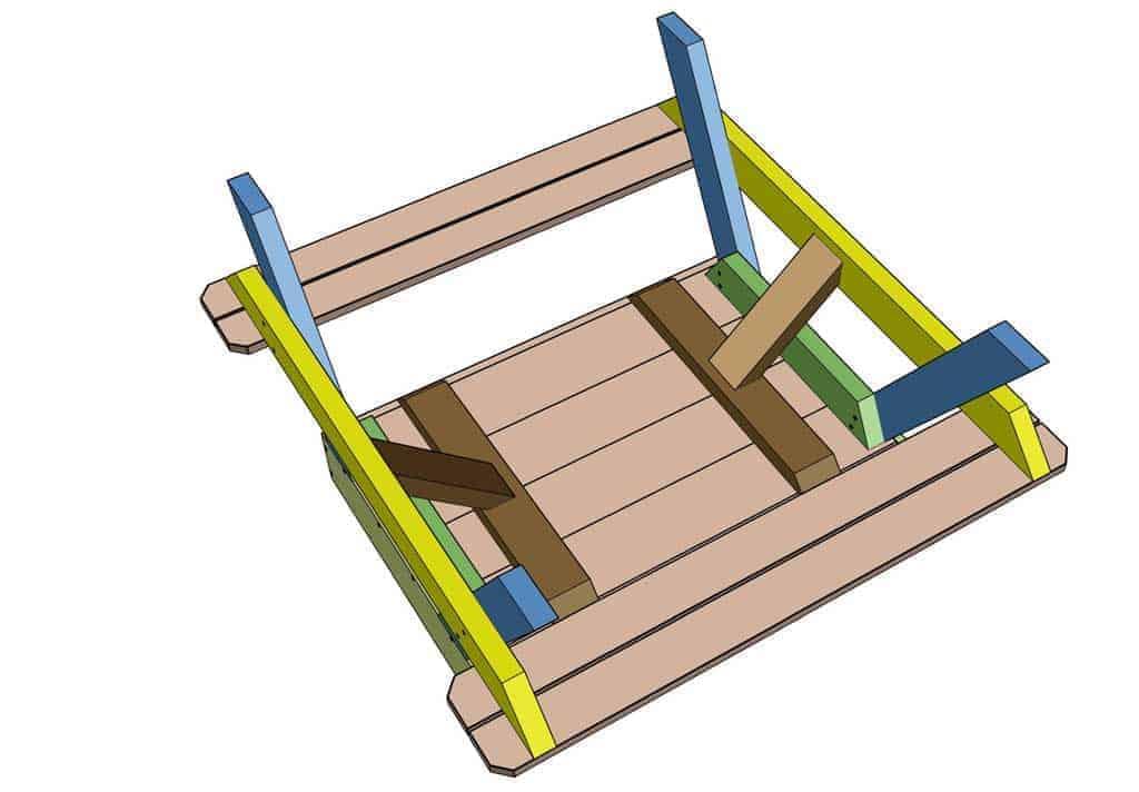 attaching diagonal boards under the sandbox