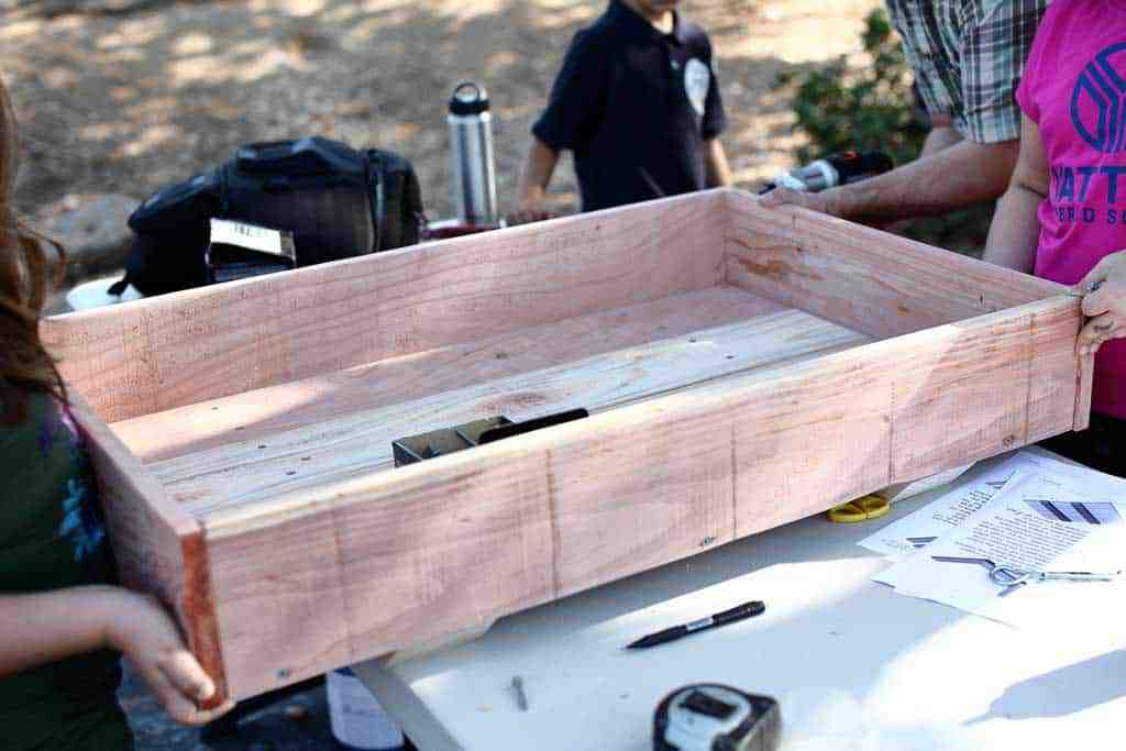attaching end boards for the sandbox
