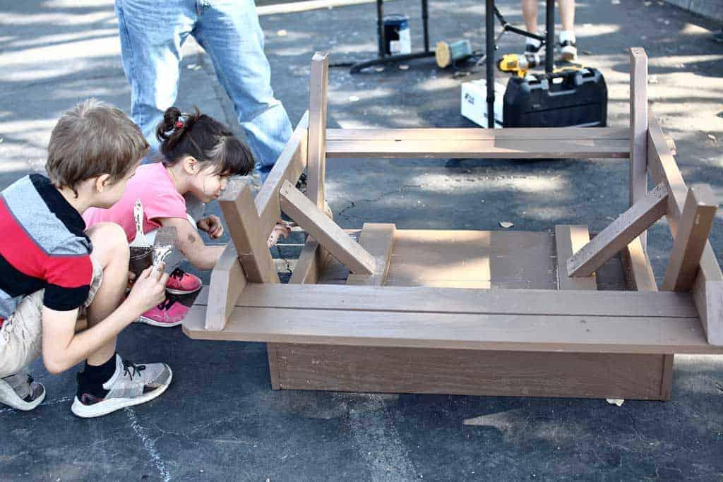 kids painting DIY Sandbox Table