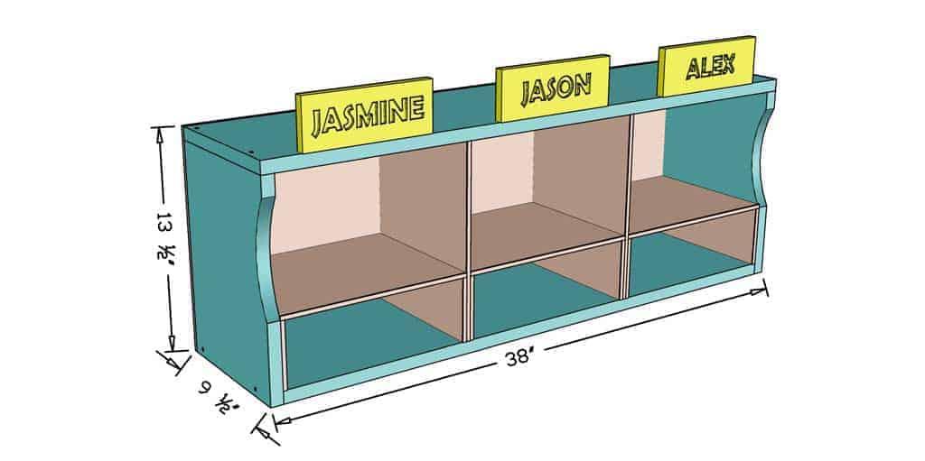 DIY Kids Bookshelf dimensions