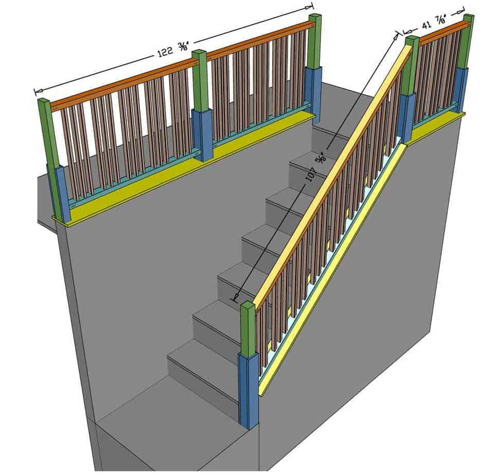 dimensions for diy staircase railing