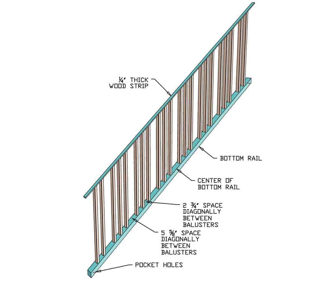 assembling sloped rail for diy staircase railing