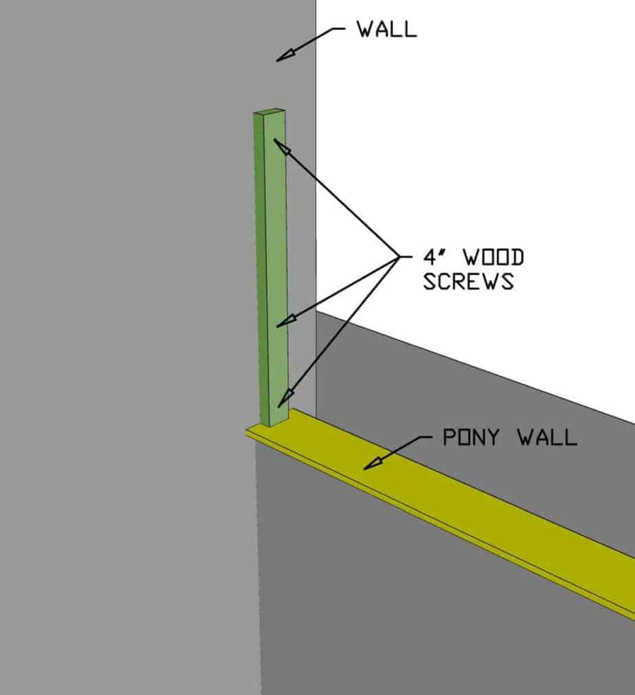 attaching post to the wall for diy staircase railing