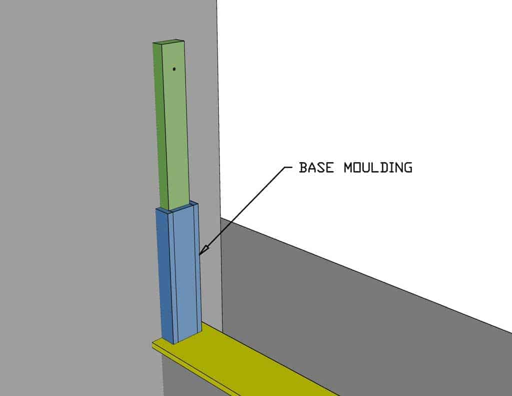 attaching base moulding to the post
