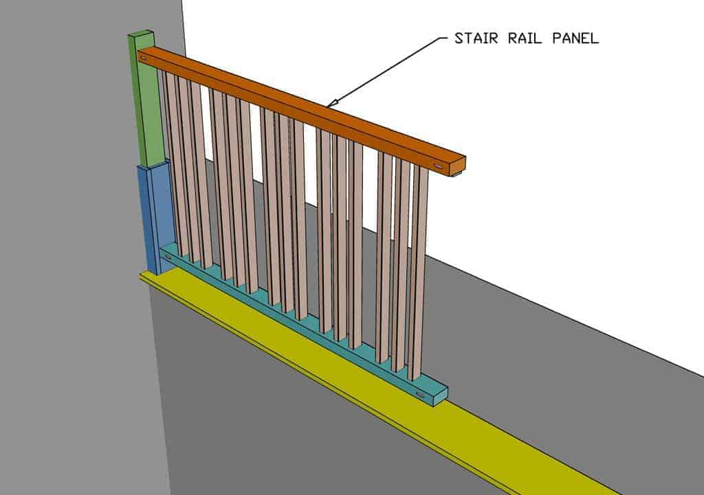 attaching stair rail panel to the post