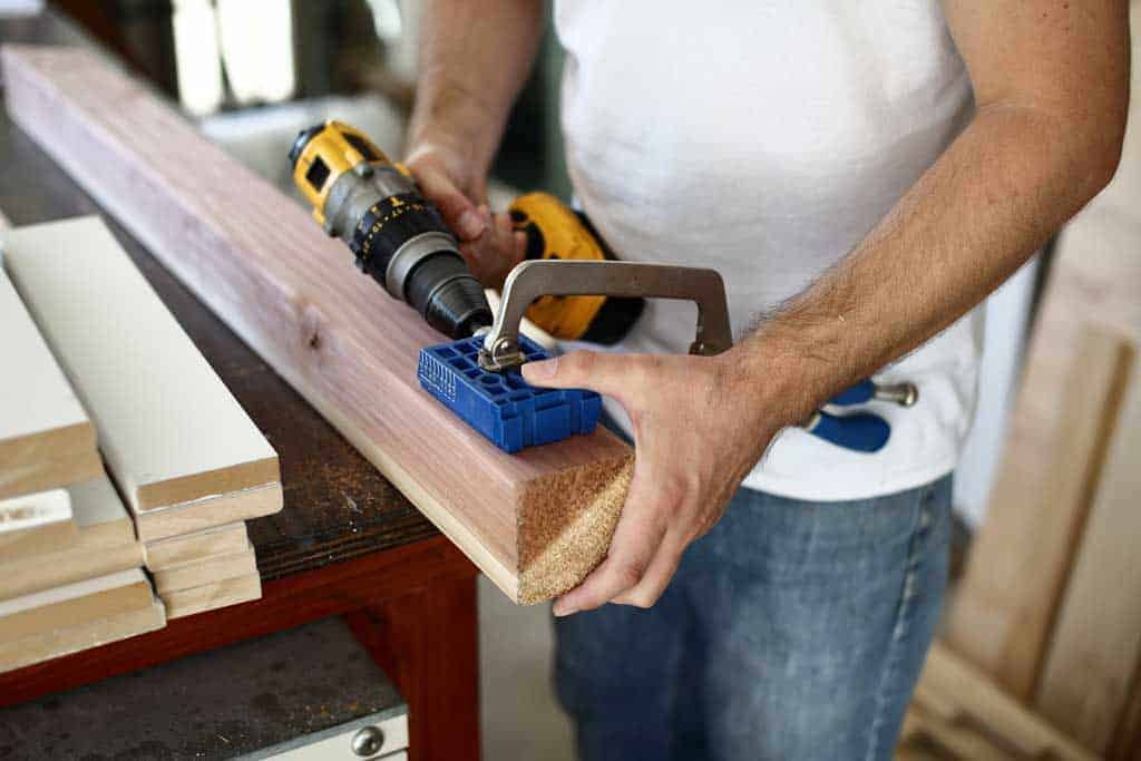drilling pocket holes in post for railing