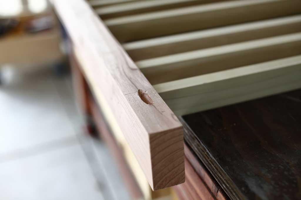 pocket holes in the bottom rails