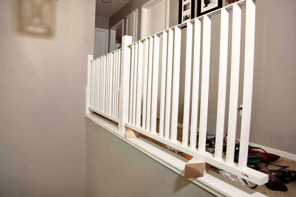 attaching horizontal railing for stairs