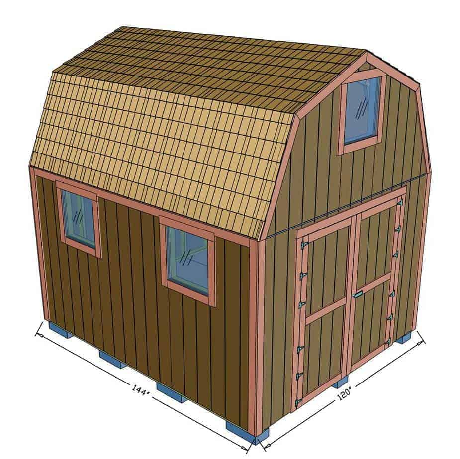 Two Story 10x12 DIY Shed dimensions