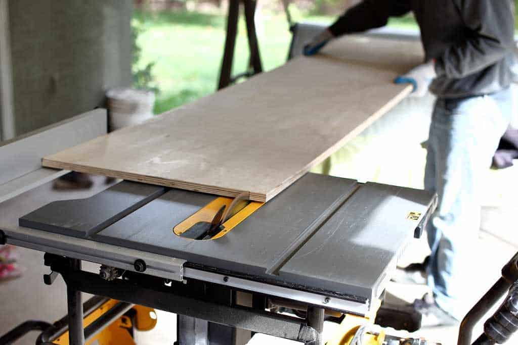cutting long plywood on table saw