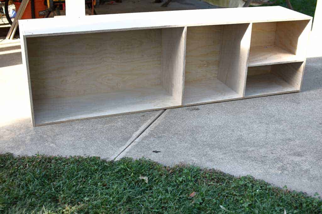 attaching shelf and divider boards to cabinets