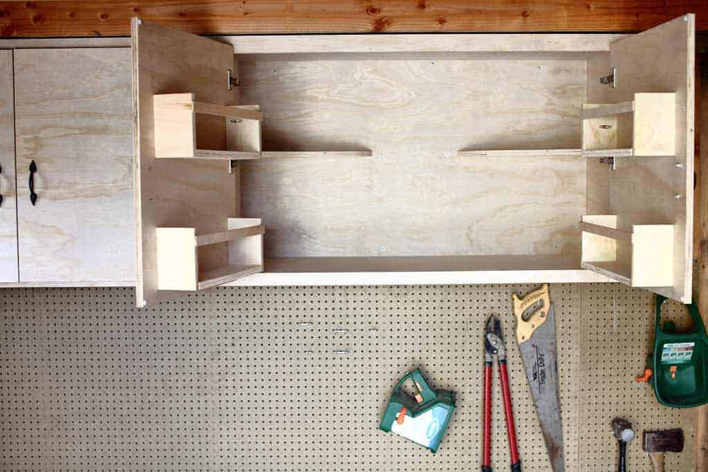 attaching cubbies to the cabinet doors