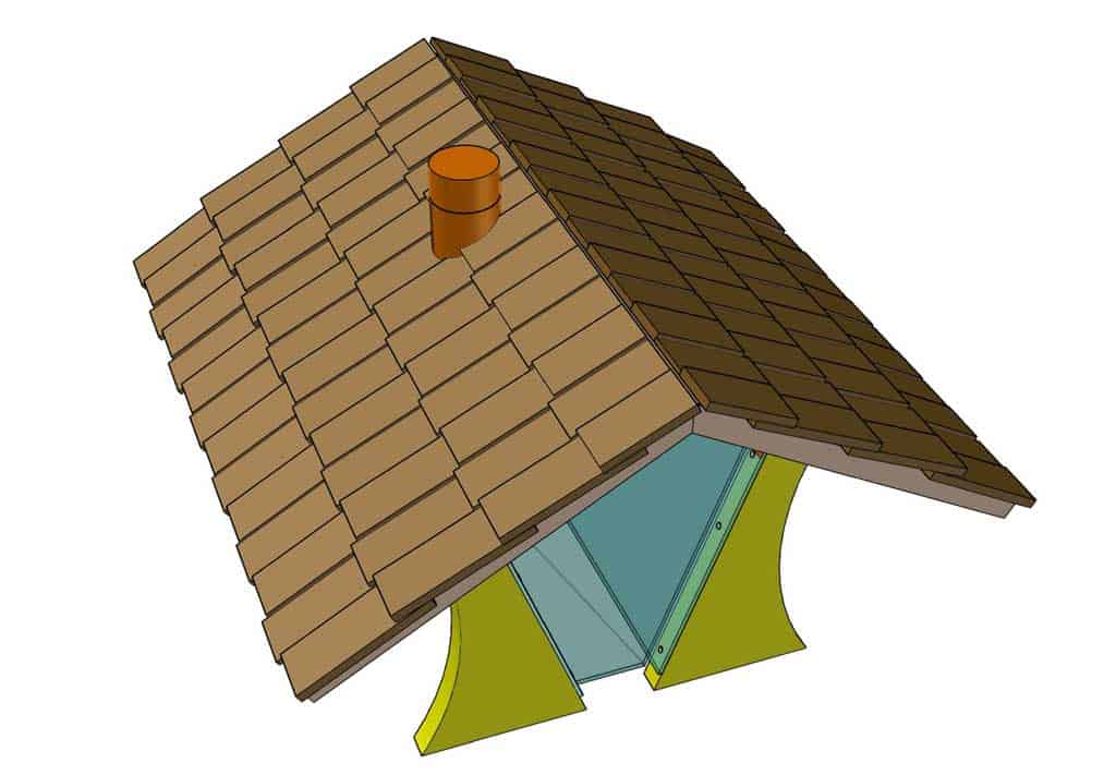 attaching shingles to the DIY bird feeder house