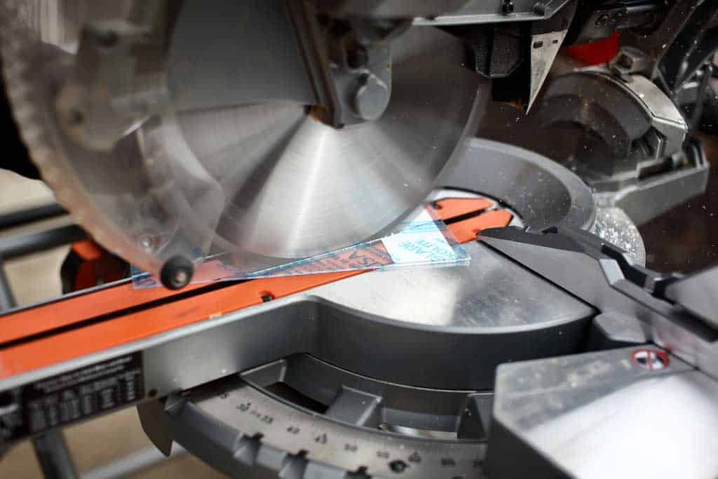 using miter saw to cut thermoplastic sheets