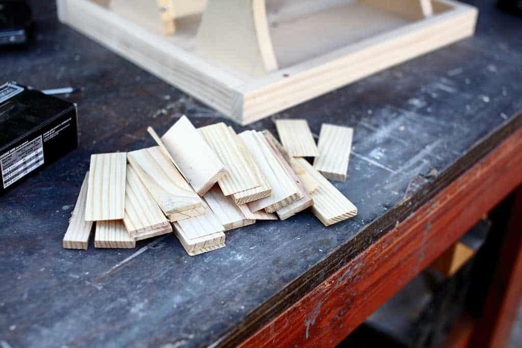 wood shingles for DIY bird feeder house