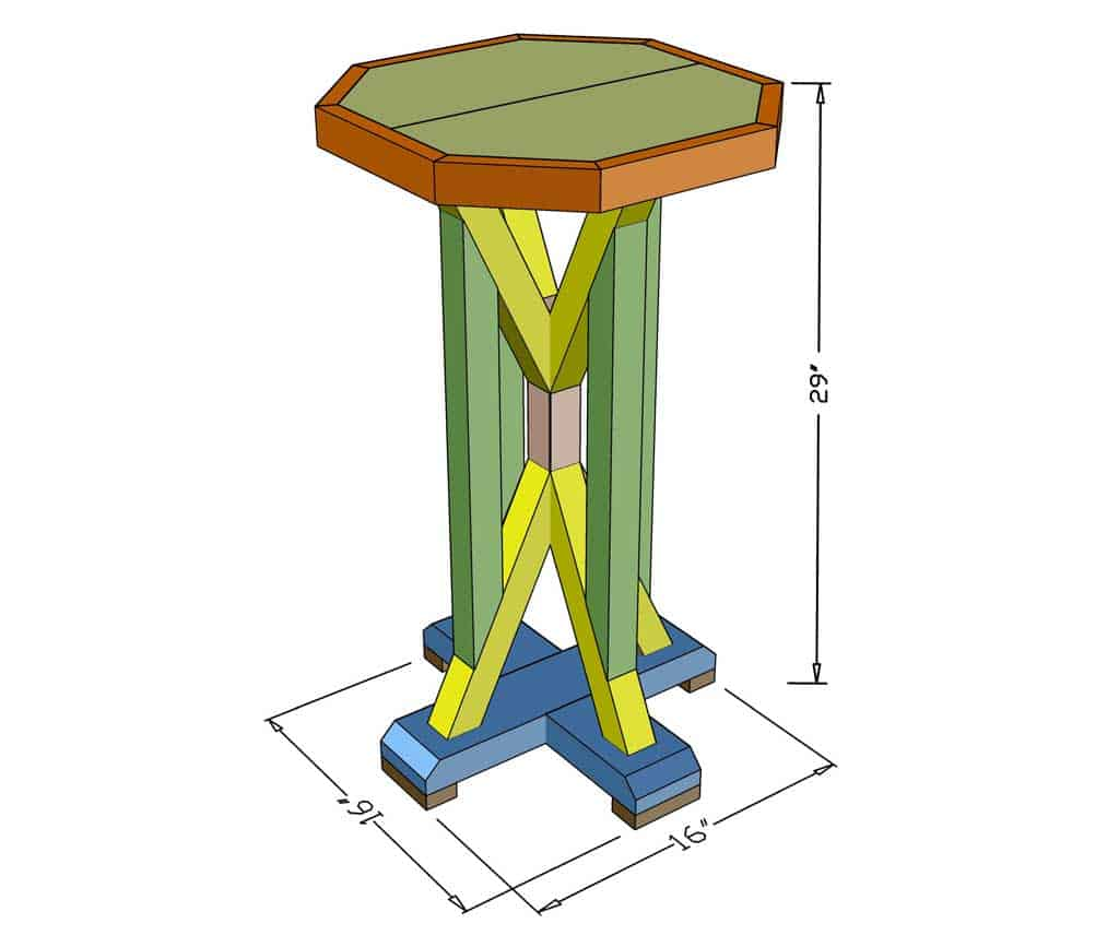 DIY Farmhouse End Table Dimensions