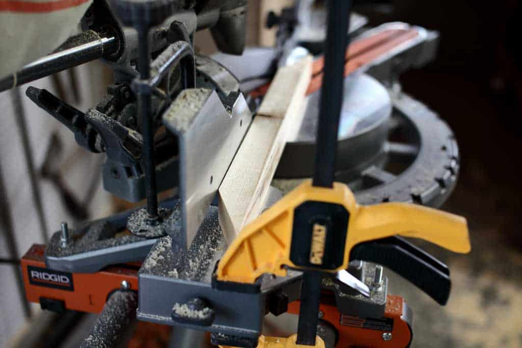 using blocking stop on miter saw