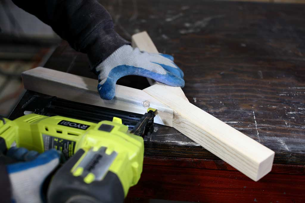 using nail gun to attach diagonal boards