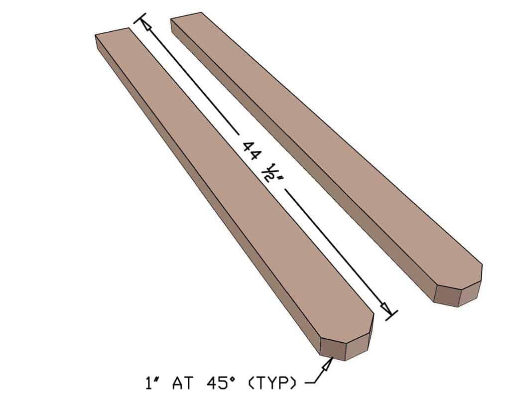 ladder rails for DIY Wooden Ladder Toss Game