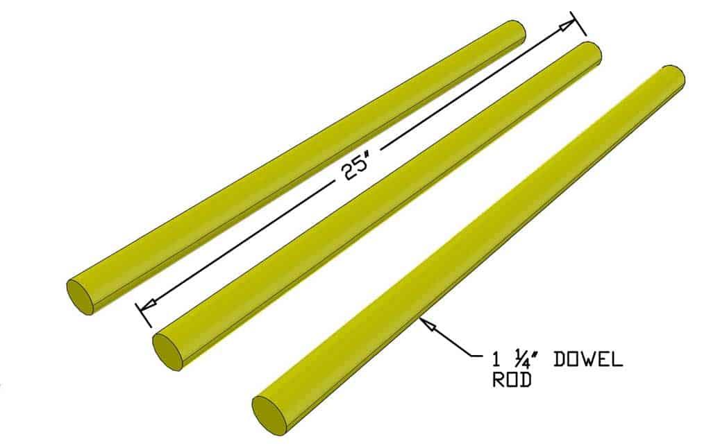 wooden dowel rods for DIY Wooden Ladder Toss Game