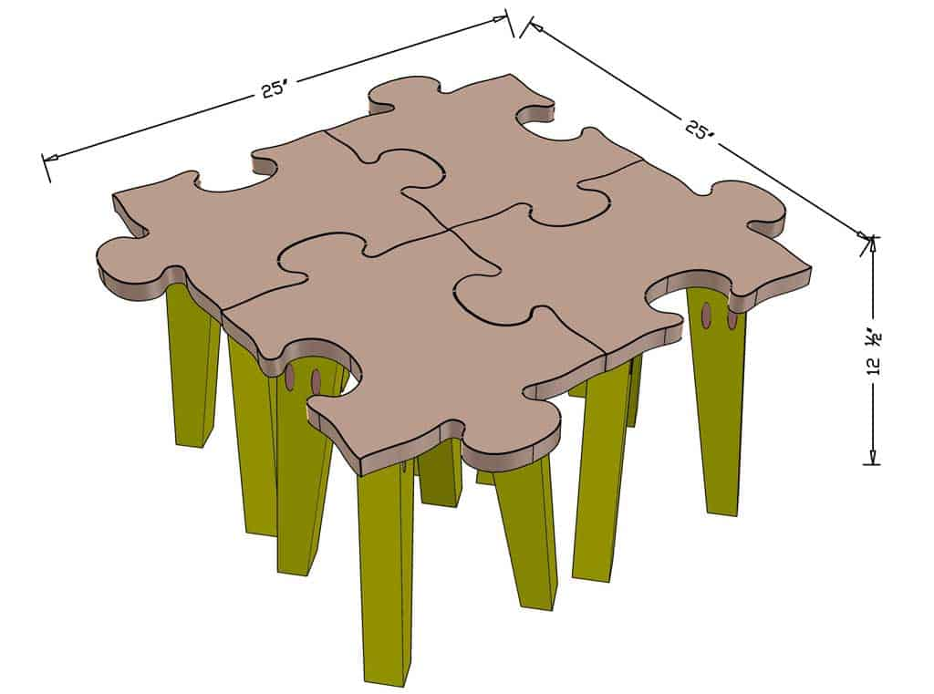 DIY Kids Table Made as Jigsaw Puzzle dimensions