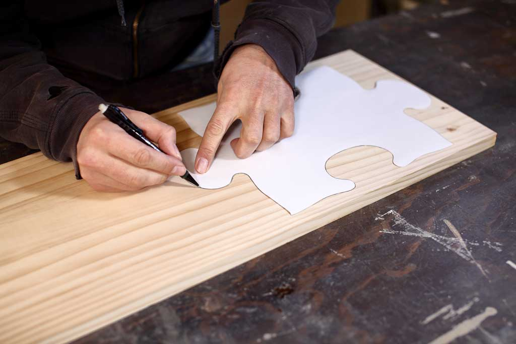 tracing puzzle template on wood