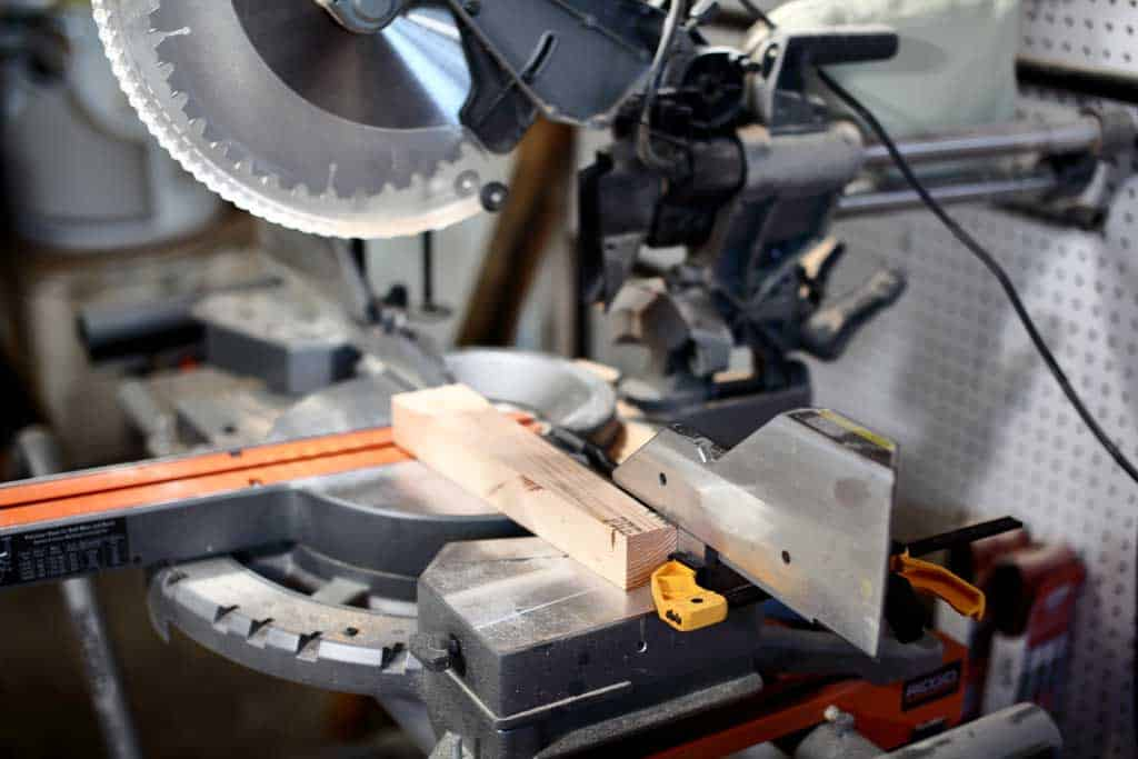 cutting wood on the miter saw