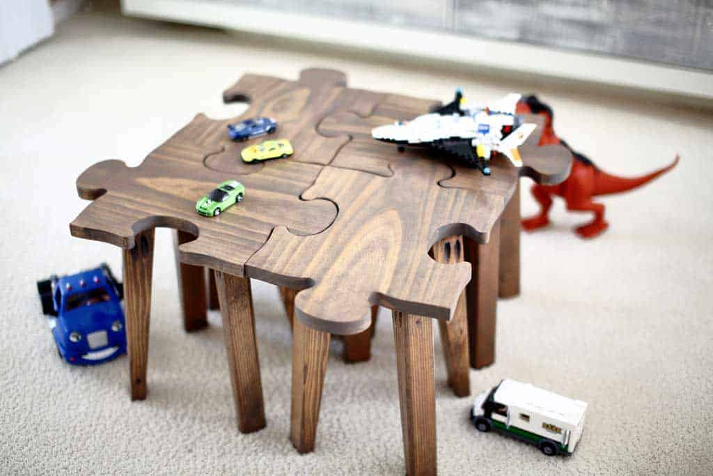 DIY Kids Table Made as Jigsaw Puzzle