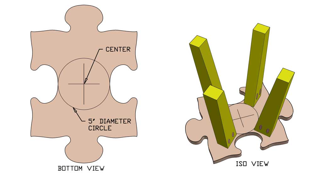 attaching the legs to the puzzle piece