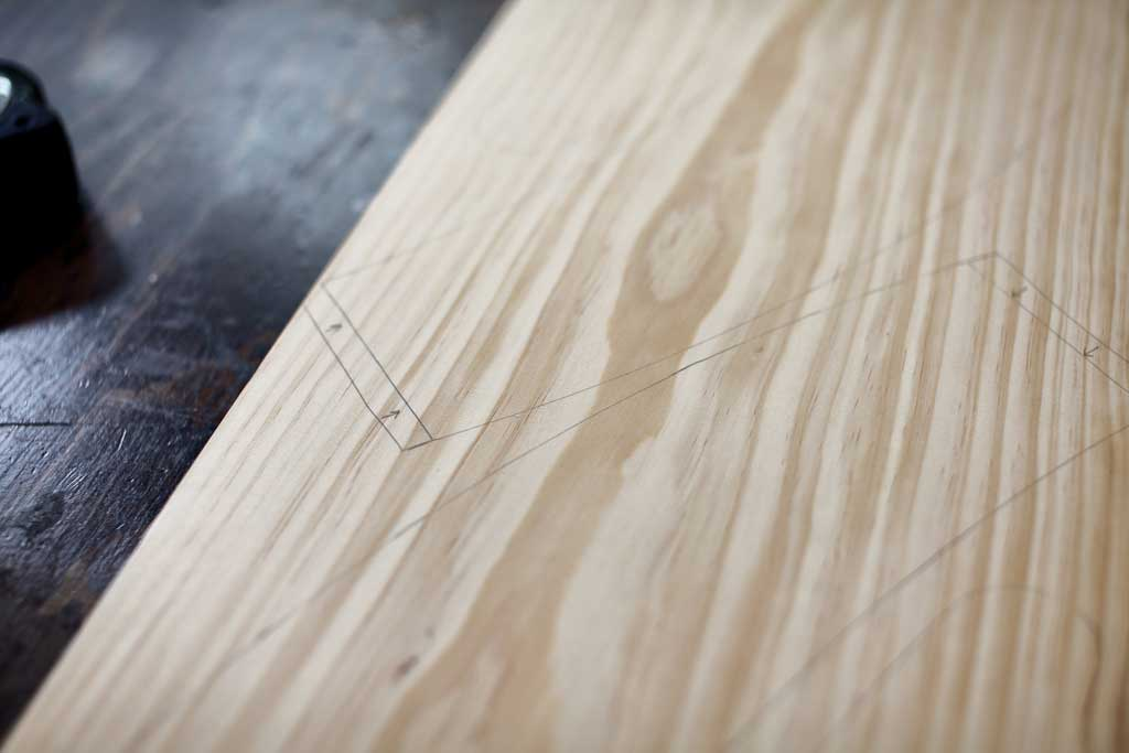 tracing template on wood