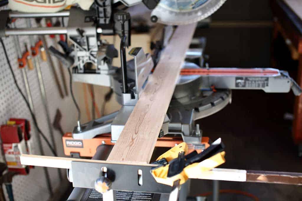 cutting wood using miter saw